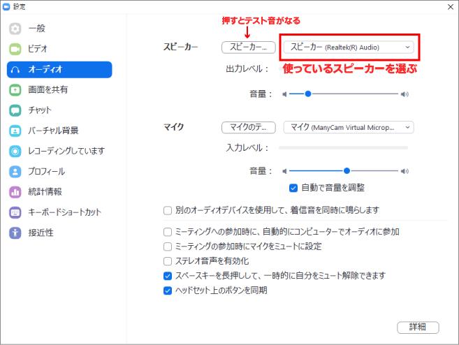 zoom設定画面・オーディオ
